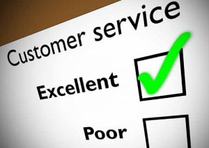 Customer service feedback form with green tick on Excellent.