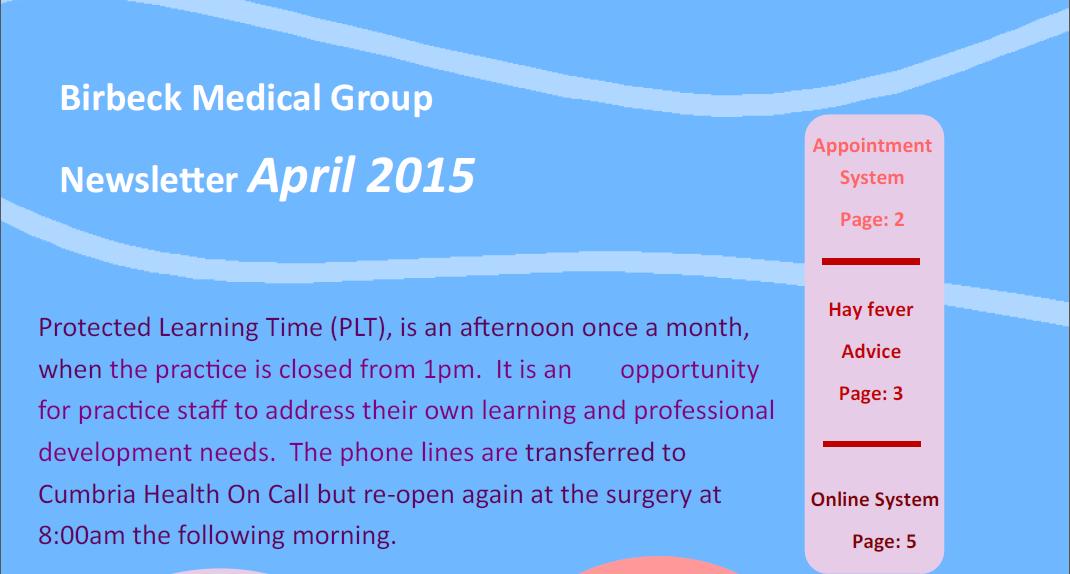 Birbeck Newsletter April 2015
