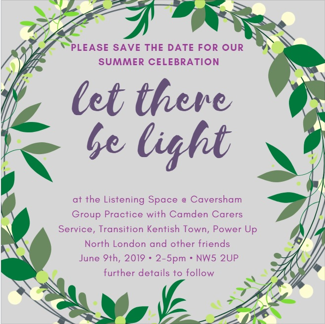 Let there by light poster. Hows a picture of flowers. This is an event on June 9th from 2-5PM which has steel drums, singing and a bit of cake.